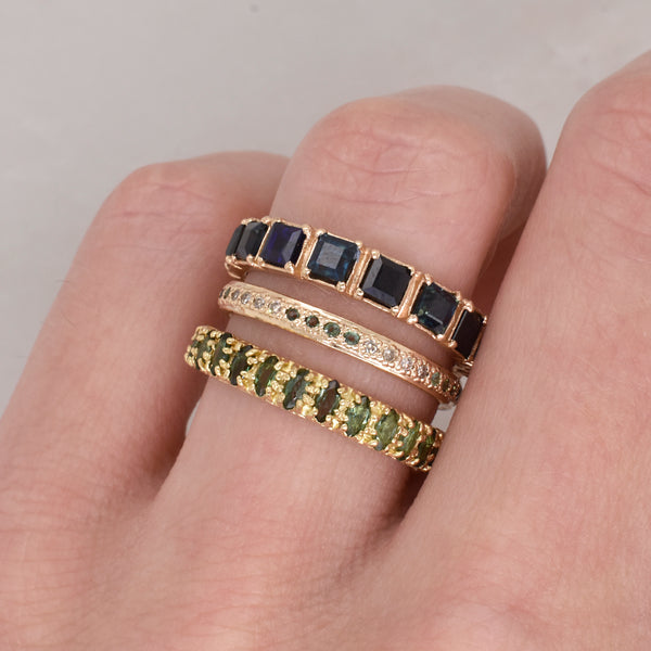 Champagne Diamond and Tourmaline Stack Ring