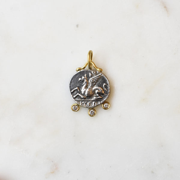 Petite Pegasus Journey Medallion with Diamonds