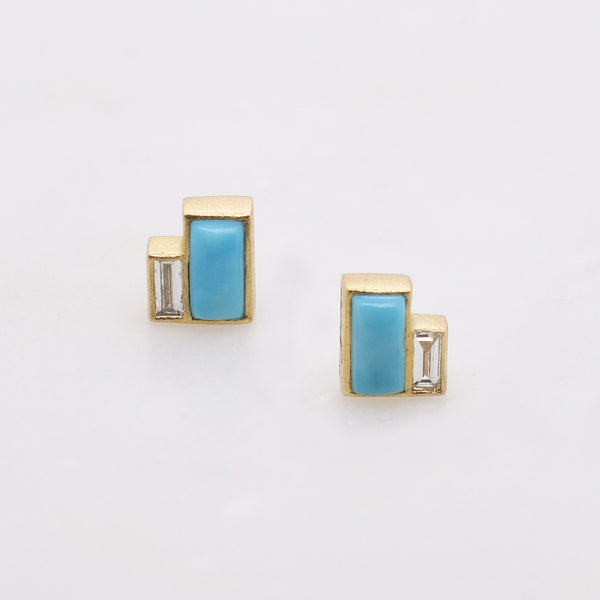 Turquoise & Diamond Baguette Stud Earrings