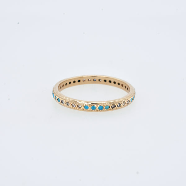 Champagne Diamond and Turquoise Band