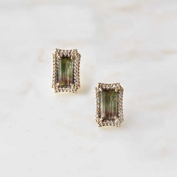 Emerald Cut Watermelon Tourmaline Studs with Diamonds