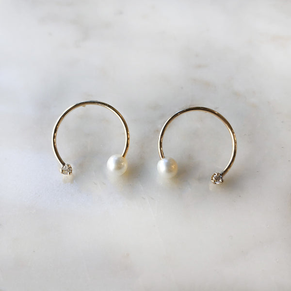 Open Circle Pearl and Diamond Earrings
