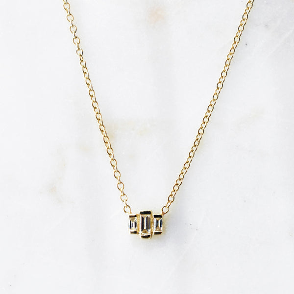 Graduated Diamond Baguette Necklace
