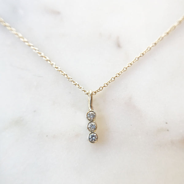 Three Bezel Set Diamond Bar Necklace