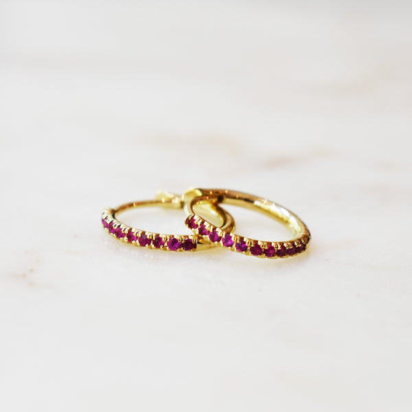 Gold & Pavé Ruby Huggie Hoops