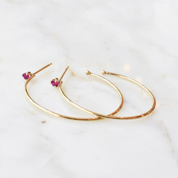 Medium Gold Hoops with Ruby Accent