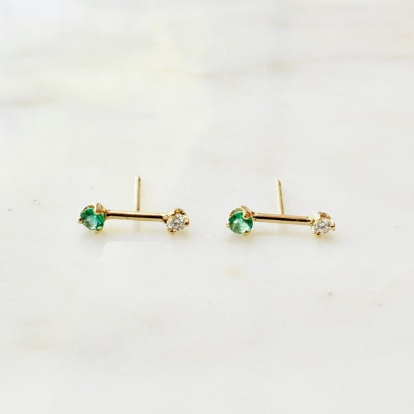 Gold Barbell Studs with Diamonds and Emeralds