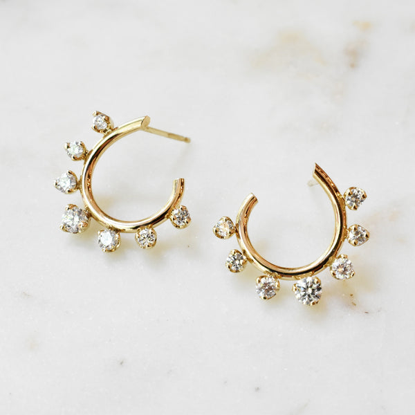 Gold and Diamond Open Circle Earrings