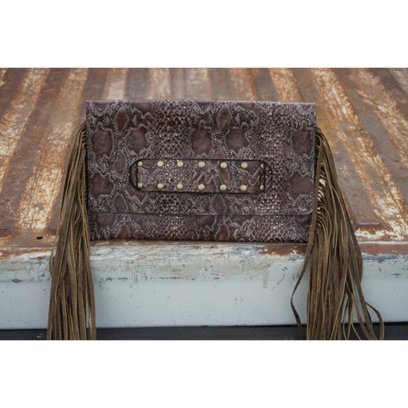 Snakeskin Print Clutch with Fringe