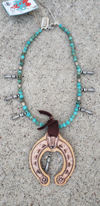 Turquoise & Leather Squash Choker