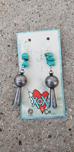Turquoise Chunk Earrings with Metal Blossoms