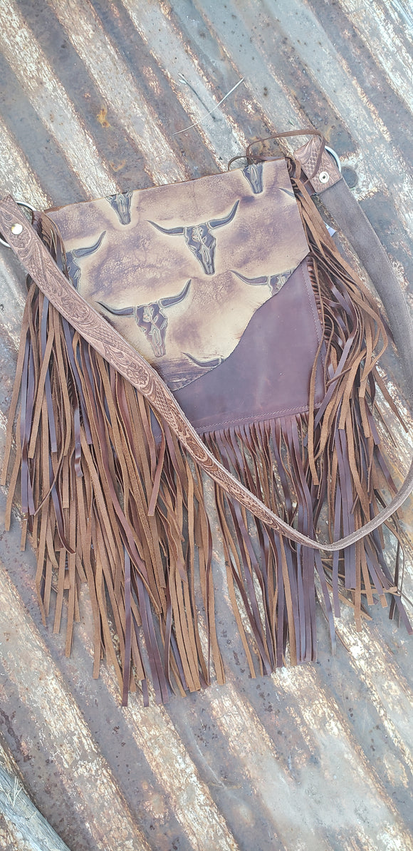 Leather Crossbody with Longhorn Flap & Fringe