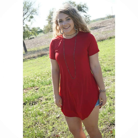 Short Sleeve Red Tunic