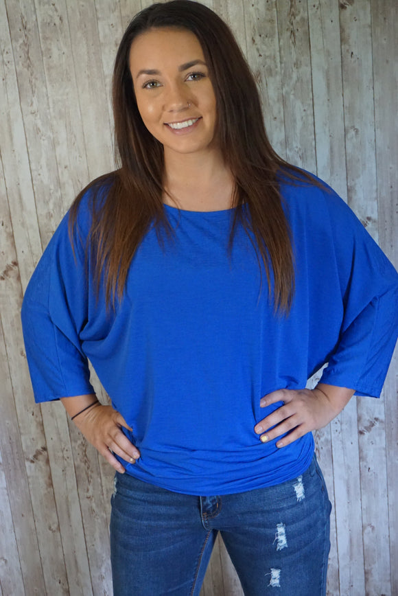 Royal Blue Dolman 3/4 Sleeve top