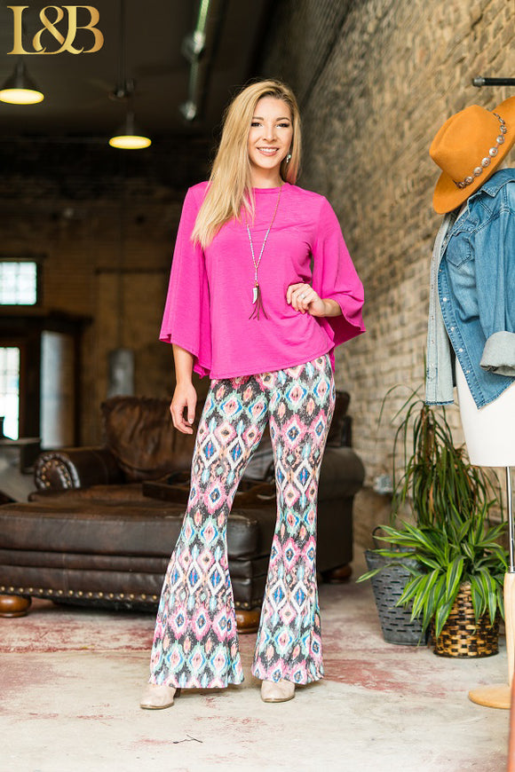 Pink/Grey Aztec Button Front Flare Pants