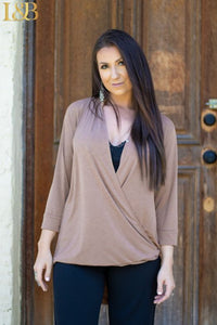 Mocha 3/4 Button Plunging Top
