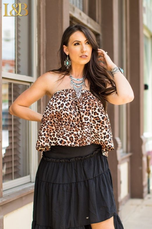 Leopard Ruffle Tube Top