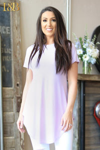 Lavender Short Sleeve Boyfriend Tunic