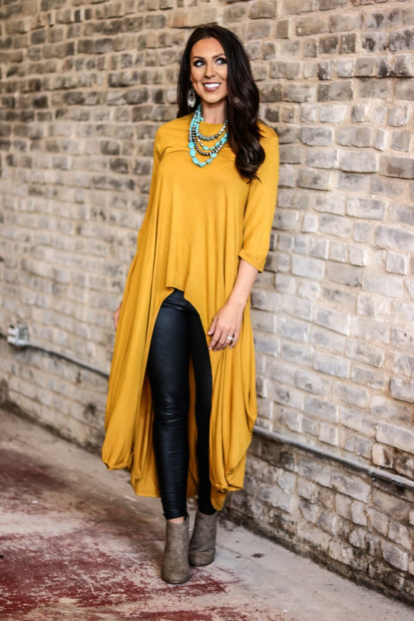 Mustard Long Hi-Low Tunic