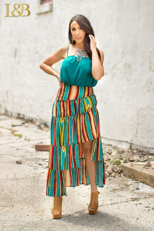 Serape Ruffle High-Low Skirt