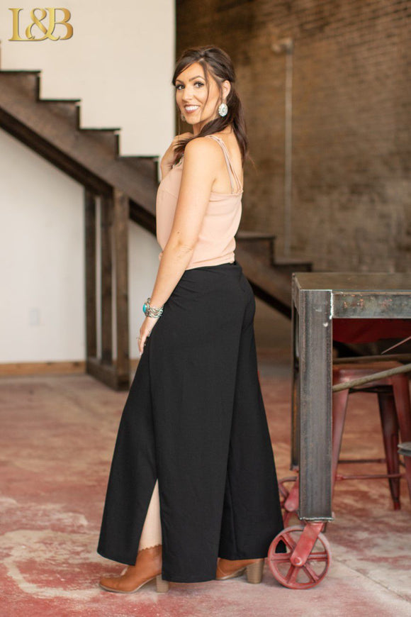 Black Side Slit Palazzo Pants