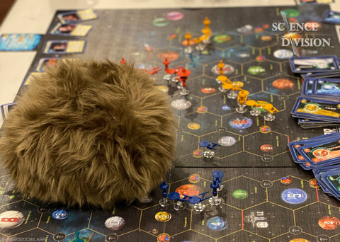 A Science Division App-enabled Tribble playing Star Trek Catan