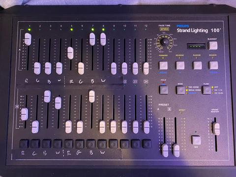 The lighting console used to set lighting levels for the Tribble cosplay outfits.