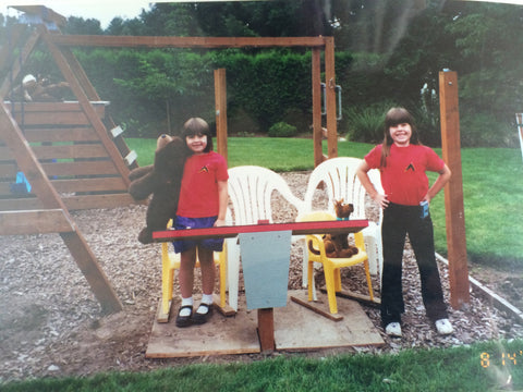 Kayleigha and her sister playing Star Trek as children