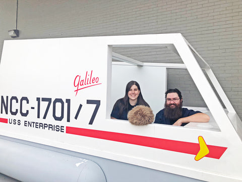 Jay and Kayleigha aboard the Galileo re-creation at the Star Trek Set Tours
