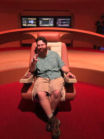 Jay at the Intrepid Museum on the Enterprise D bridge from Star Trek