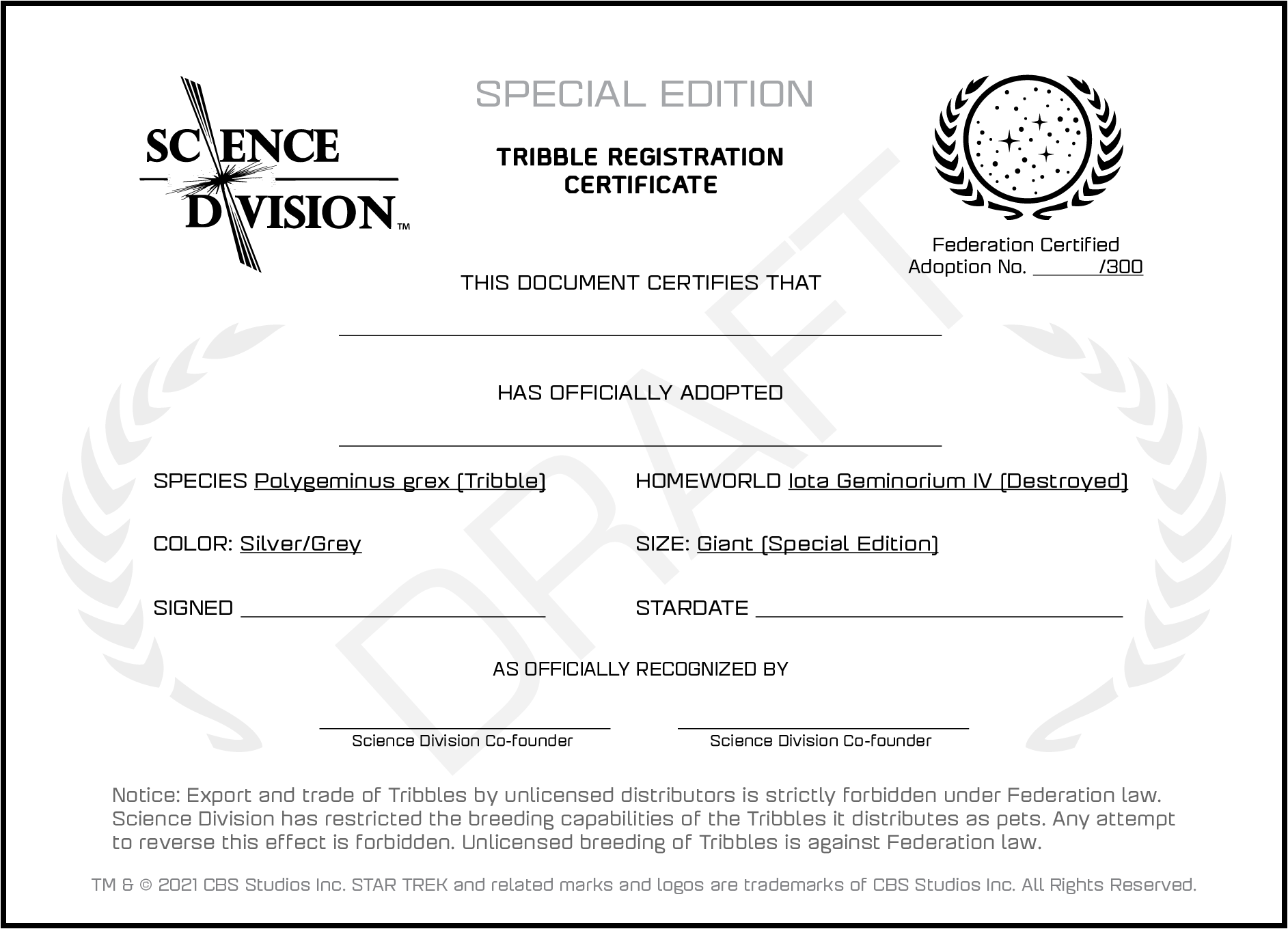 A draft adoption certificate for Special Edition Giant Silver Tribbles