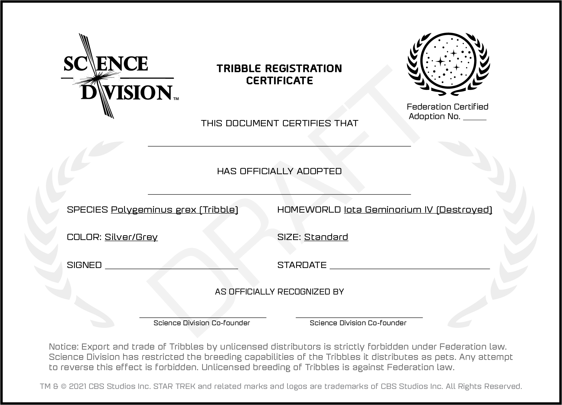 A draft image of a Tribble adoption certificate