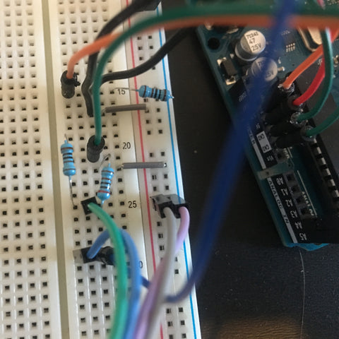 Science Division Tribble prototype wires in a breadboard