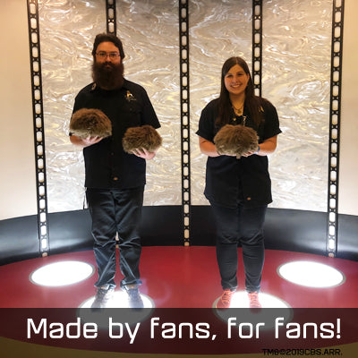 Jay and Kayleigha with Tribbles on the Transporter pad at Star Trek Las Vegas