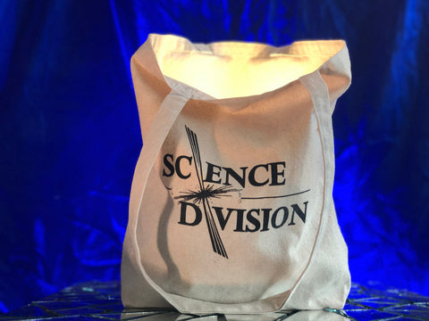 A canvas tote bag with the Science Division logo printed on it