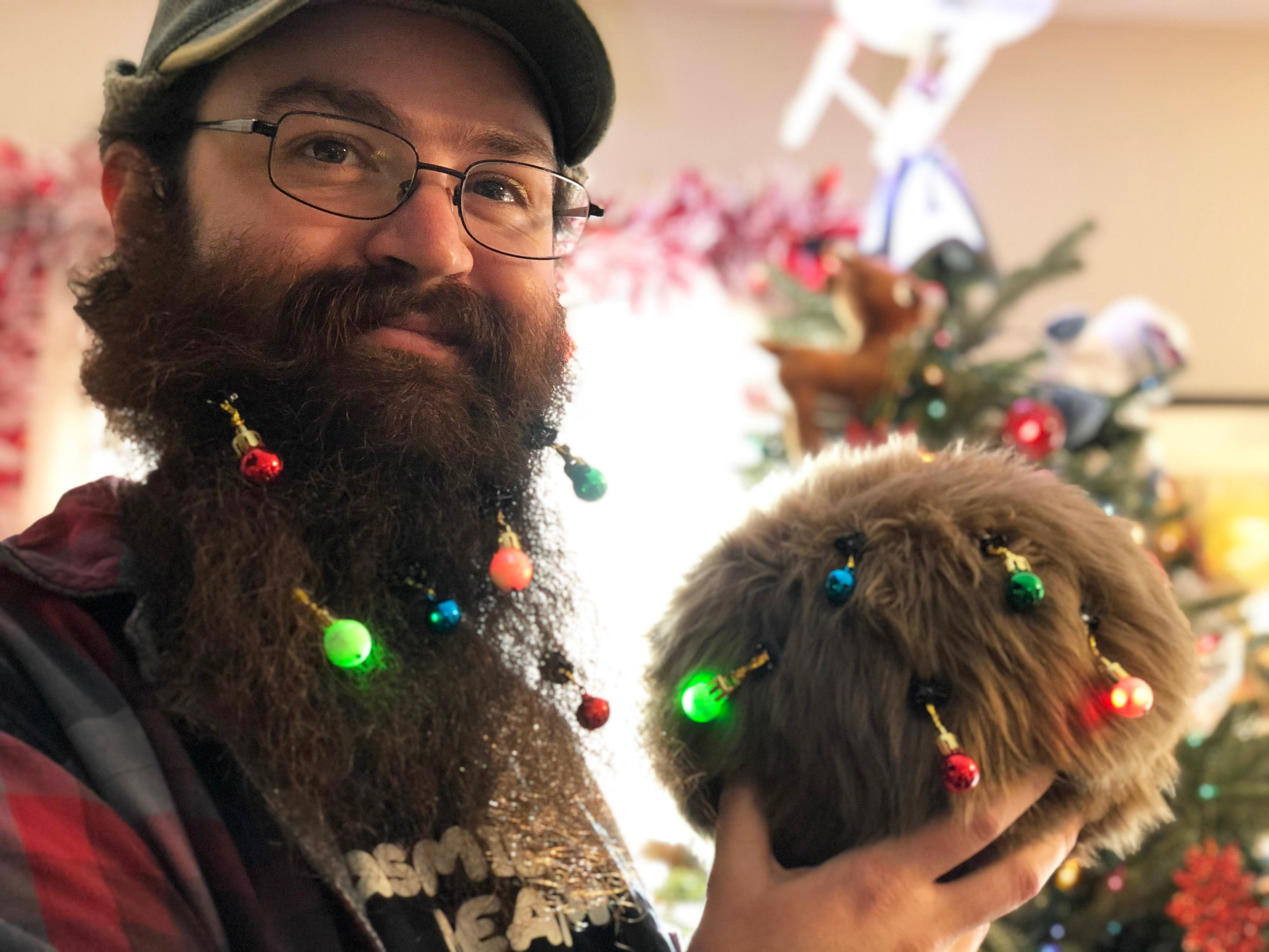 Jay and a Star Trek App-enabled Tribble with beard bobbles in their beard and fur - Science Division
