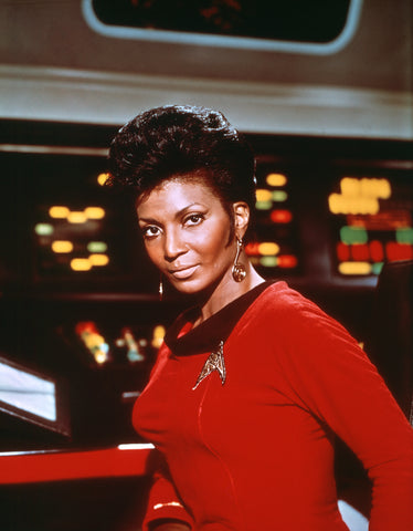 Lt. Uhura facing the camera and looking strong and powerful
