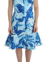 Blue Tempestuous Fresco-Print Fluted Hem Dress - xanders-shopping