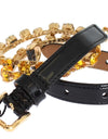 Black Leather Yellow Crystal Belt