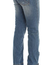 Blue Wash Cotton Blend Slim Fit Bootcut Jeans - xanders-shopping