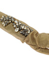 Gold Floral Crystal Elbow Long Gloves