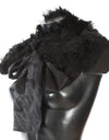 Black Alpaca Fur Shoulder Collar Scarf