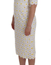 White Sunflower Ricamo Sheath Dress - xanders-shopping