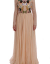 Pink Silk Floral Crystal Maxi Gown Dress - xanders-shopping