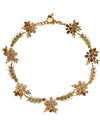 Dolce & Gabbana Gold Brass Crystal Floral Insect Fly Necklace - xanders-shopping