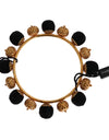 Gold Brass Black Floral Roses Bracelet - xanders-shopping