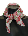 White Silk Red Floral Print Scarf