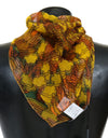 Yellow Orange Silk Floral Print Scarf