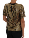 Gold Sequined Crewneck T-Shirt - xanders-shopping