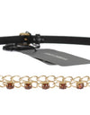 Black Leather Crystal Gold Chain Belt